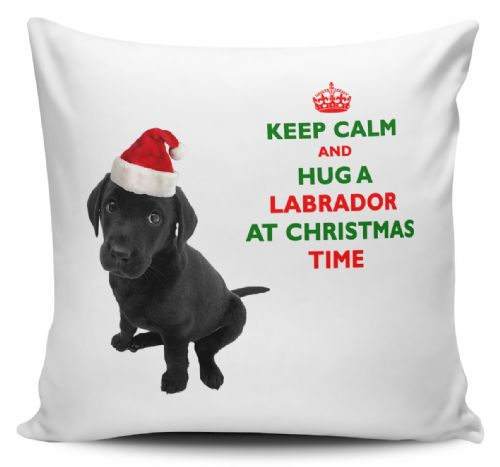 Christmas Keep Calm And Hug A Labrador (Black) Novelty Cushion Cover